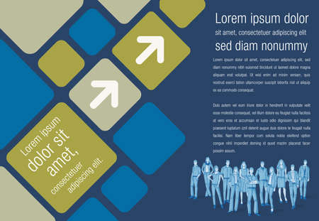 online business: Design template with business people. Infographic design. Sketch silhouette.
