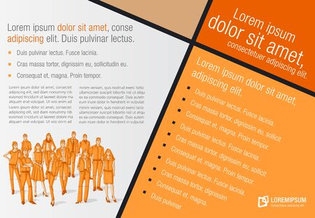 Design template with business people. Infographic design. Sketch silhouette. Vetores