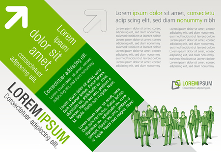Design template with business people. Infographic design. Sketch silhouette.