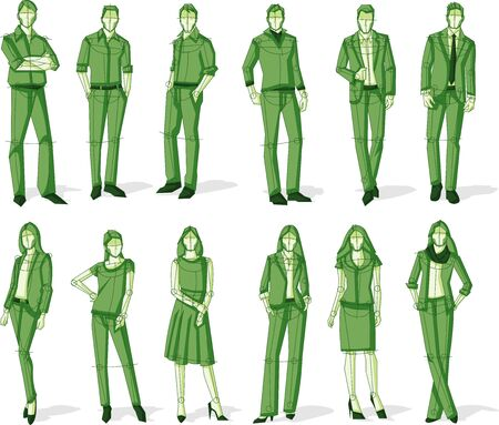 Group of green business people. Sketch silhouette.
