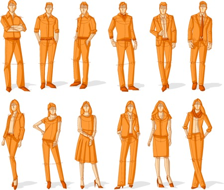 woman business suit: Group of orange business people. Sketch silhouette.
