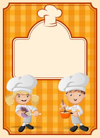 Orange restaurant menu with chefs cooking cartoon.