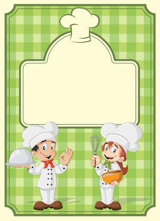 chefs cooking: Green restaurant menu with chefs cooking cartoon.