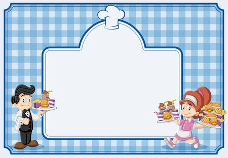 Blue restaurant menu with waitress and waiter holding tray with fast food. Illustration
