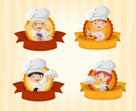 Vector banners  backgrounds with chefs cooking cartoon and tray with food holding. Design text ribbons.