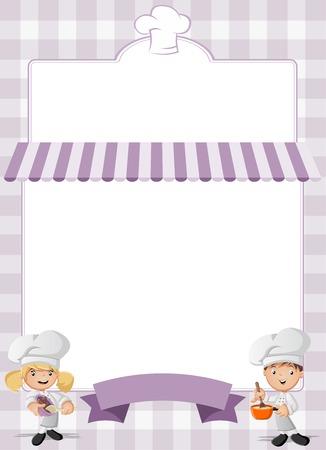 childrens food: Purple restaurant menu with chefs cooking cartoon.