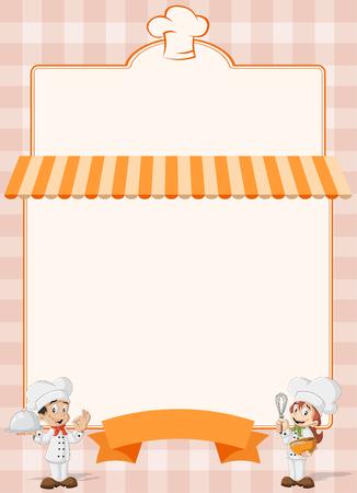 chefs cooking: Orange restaurant menu with chefs cooking cartoon.
