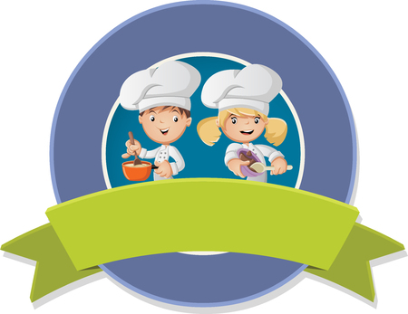 Vector banners and labels backgrounds with cartoon cooking food chefs. Design text ribbons.