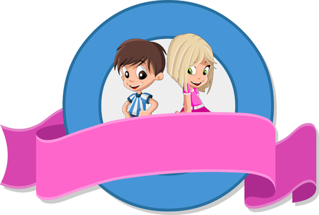 vector girl: Vector banners and labels backgrounds with cartoon happy children. Boy and girl. Cute kids. Design text ribbons. Illustration