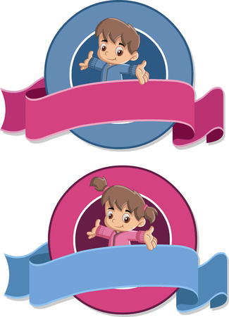 cute baby girl: Vector banners and labels backgrounds with baby boy and baby girl. Cute toddlers. Design text ribbons.