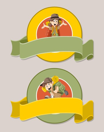 jubilation: Vector banners and labels backgrounds with cartoon kids in explorer outfit. Design text ribbons.