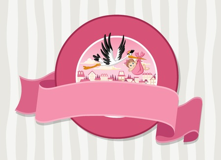 stork delivering a baby: Vector banners and labels backgrounds with cartoon stork delivering a newborn baby girl. Design text ribbons. Illustration