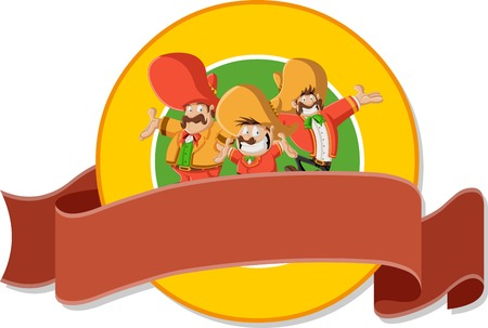 Vector banners and labels backgrounds with cartoon mariachis mexican with sombrero. Design text ribbons.