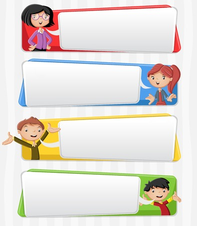 talking: Cartoon family talking with speech bubbles