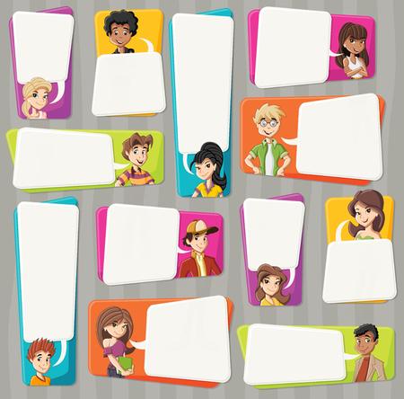 Cartoon teenagers talking with speech bubbles