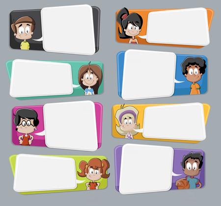 Cartoon Kinder mit Sprechblasen sprechen