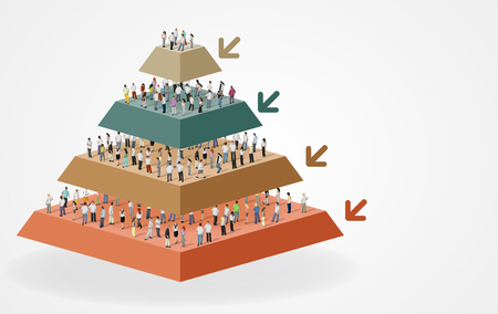 woman stairs: Pyramid chart with business people working with computer. Office workspace with desks. Hierarchy chart. Illustration