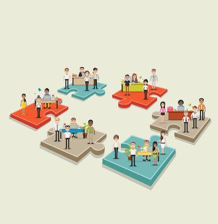Pedazos del rompecabezas con la gente de negocios que trabajan con el ordenador. espacio de trabajo de oficina con escritorios. diseño de infografía.