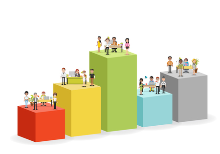 hierarchy chart: Bar chart with business people working with computer. Office workspace with desks. Hierarchy chart. Infographic design. Illustration