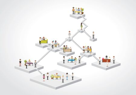 hierarchy: Plataforms with business people working with computer. Office workspace with desks. Hierarchy tree.