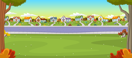 Colorful houses in suburban neighborhood. Green park landscape with grass, trees, flowers and clouds.