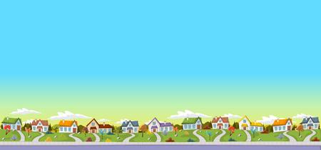 Kolorowe domy w podmiejskiej dzielnicy. Zielony krajobraz parku z trawy, drzew, kwiatów i chmur. Ilustracje wektorowe