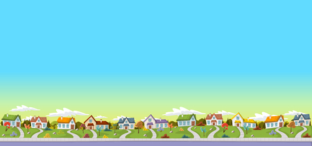 Colorful houses in suburban neighborhood. Green park landscape with grass, trees, flowers and clouds. Illustration