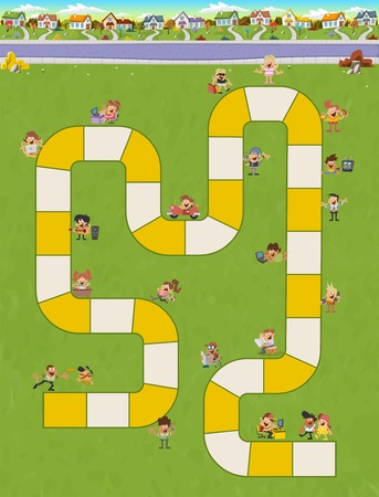 game block: Board game with a block path in the city with happy cartoon people