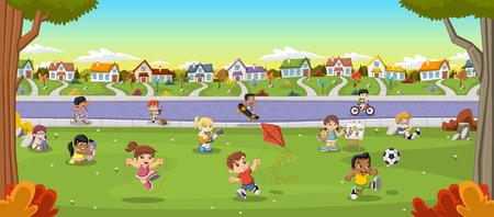 niños jugando en el parque: Parque colorido en la ciudad con los niños de dibujos animados jugando. Deportes y juguetes. Vectores