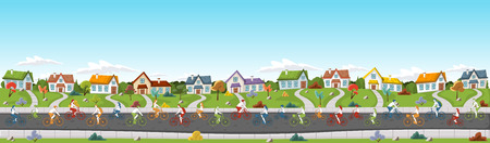 suburb: People riding bicycles on the street of the colorful suburb neighborhood. Illustration
