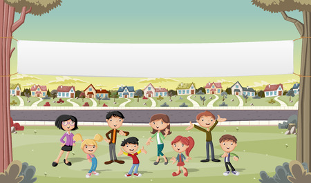 suburban neighborhood: Banner over cartoon family in suburban neighborhood. Green park landscape with grass, trees, and houses.