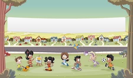 교외 동네에서 노는 만화 애들 위에 배너. 잔디, 나무와 집 녹색 공원 풍경.
