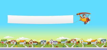 chico piloto de dibujos animados. Avión que tira de una bandera sobre barrio suburbano. paisaje parque verde con césped, árboles y casas.