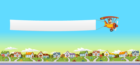 Cartoon pilot boy. Airplane pulling a banner over suburban neighborhood. Green park landscape with grass, trees, and houses. Illustration