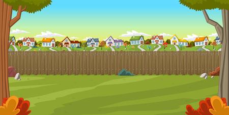 カラフルな郊外の近所の家の裏庭に木製の柵。草、木、花、雲、緑豊かな庭園。