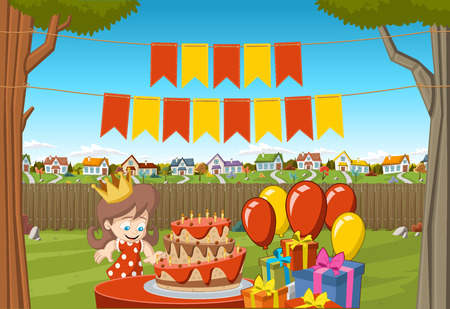 Banners over cartoon girl at a birthday party in the backyard of a colorful house. Suburb neighborhood garden with grass, trees, flowers and houses. Illustration