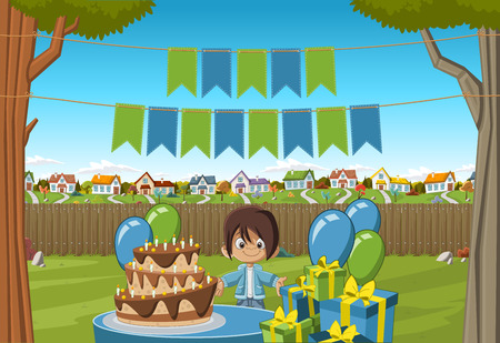 suburb: Banners over cartoon boy at a birthday party in the backyard of a colorful house. Suburb neighborhood garden with grass, trees, flowers and houses. Illustration
