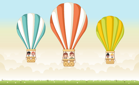 jubilation: Cartoon kids inside a hot air balloon in the sky. Illustration