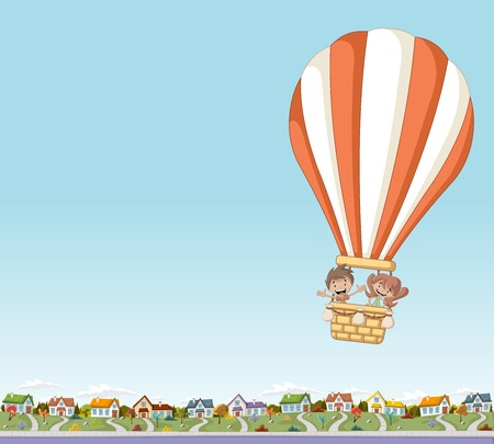 floating: Cartoon kids inside a hot air balloon flying over a suburban neighborhood of a colorful city.