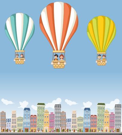 화려한 도시를 비행 뜨거운 공기 풍선 내부의 만화 아이. 스톡 콘텐츠 - 60717665