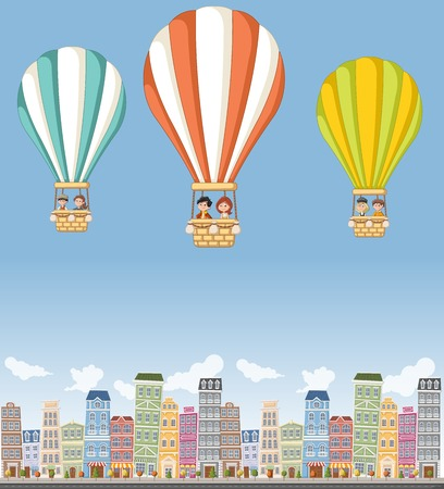 niños de dibujos animados dentro de un globo de aire caliente volando sobre la ciudad colorida.