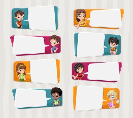 talking cartoon: Cartoon children talking with speech bubbles Illustration