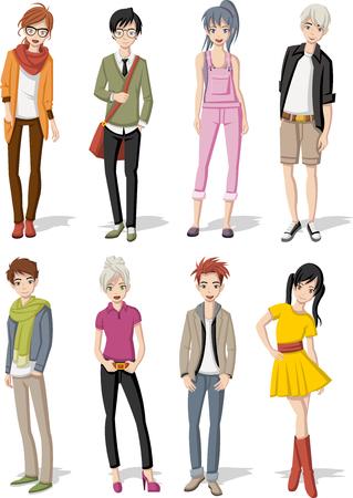 cute teen: Group of cartoon young people. Manga anime teenagers.