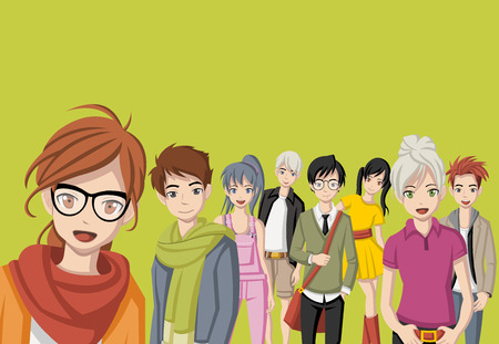 Group of cartoon young people. Manga anime teenagers.