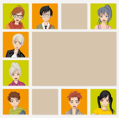 Template for advertising brochure with cartoon young people. Manga anime teenagers. Vetores