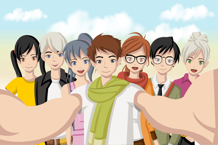 photo people: Group of cartoon young people taking selfie photo. Picture of manga anime teenagers.
