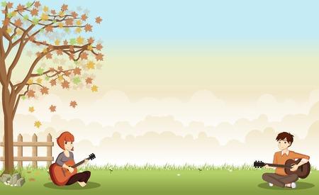adolescentes de dibujos animados tocando la guitarra en el hermoso parque. paisaje de la naturaleza.