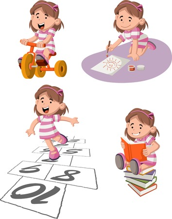 sports girl: Cute happy cartoon girl playing. Sports and toys.