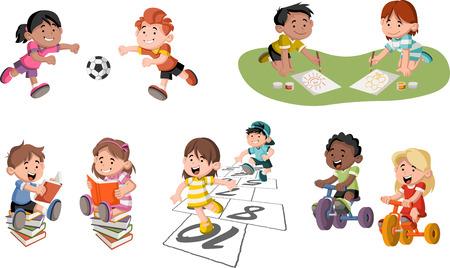 Cute cartoon enfants heureux de jouer. Sports et jouets.