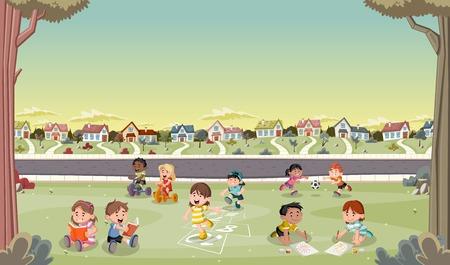 suburban neighborhood: Cartoon kids playing in suburban neighborhood. Green park landscape with grass, trees, and houses.